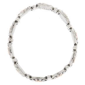 Silver Medallion Stretch Bracelet - Pink,