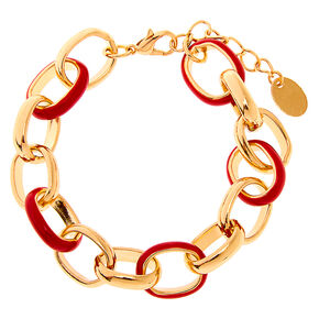 Gold Enamel Link Chain Bracelet - Red,