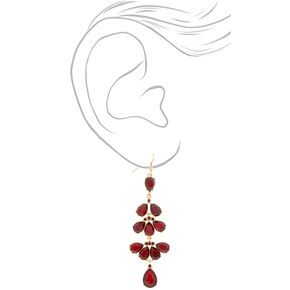 "Gold 3"" Shine Drop Earrings - Red,"
