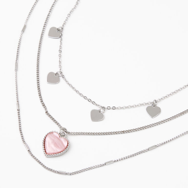 Silver Pearlized Heart Pendant Multi Strand Necklace - Pink,