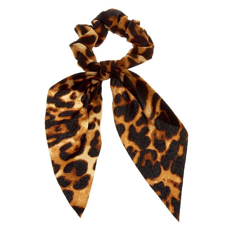 Small Leopard Hair Scrunchie Scarf - Brown,