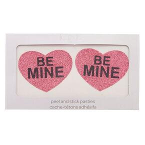 Pink Glitter Heart 'Be Mine' Peel & Stick Pasties,