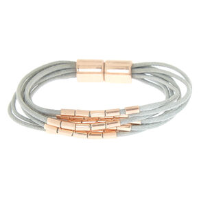 Rose Gold Beaded Wrap Bracelet - Gray,