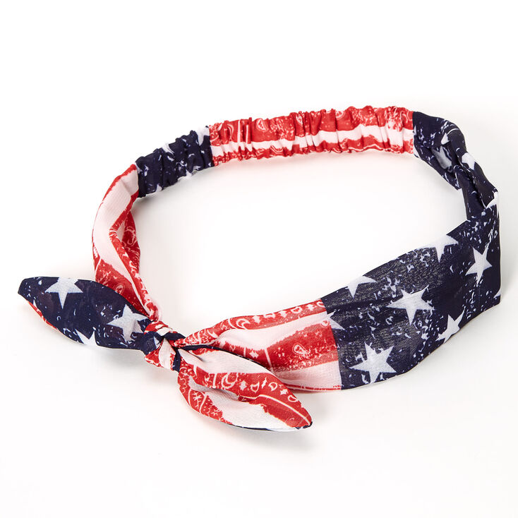 American Flag Knotted Bow Headwrap,