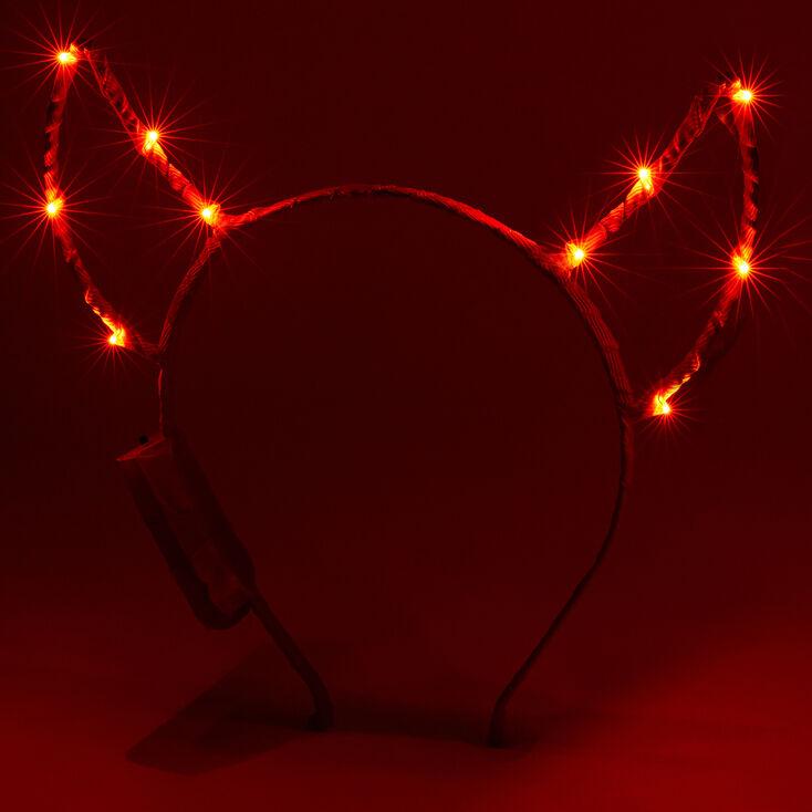 Light Up Devil Ears Headband - Red,