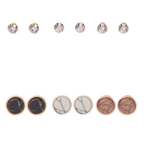 Round Marbled Stone & Clear Faux Crystal Stud Earrings,