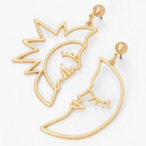 "Gold 3"" Sun & Crescent Moon Outline Drop Earrings,"