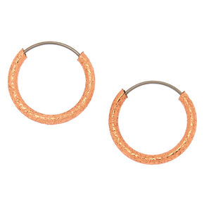 Silver 10MM Sandblasted Hoop Earrings,