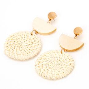 "Gold 3"" Half Circle Woven Drop Earrings,"