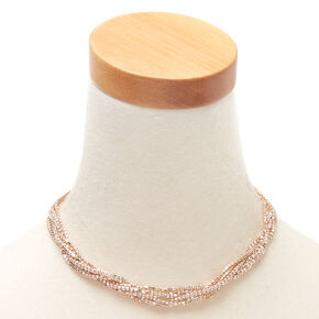 Rose Gold Rhinestone Twisted Statement Necklace,