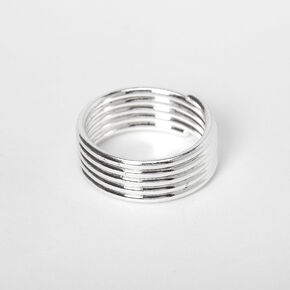 Silver Stacked Midi Ring,