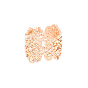 Rose Gold Filigree Flower Ring,