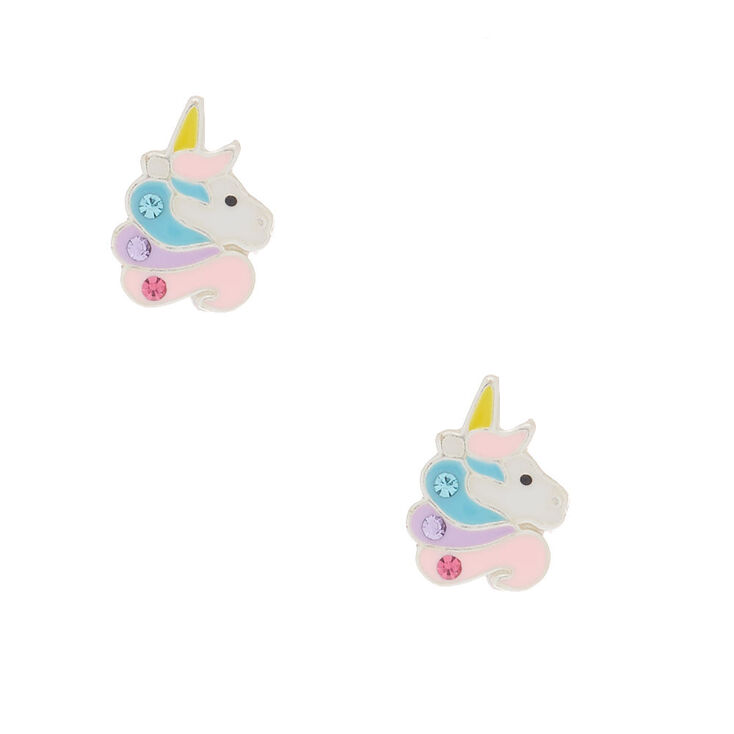 Sterling Silver Sherbet Unicorn Earrings,