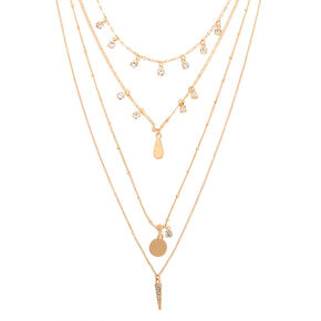Gold Boho Crystal Multi Strand Necklace,