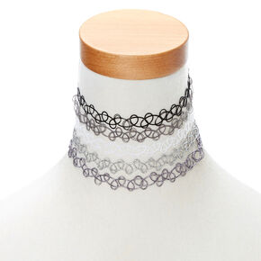 Black And White Tattoo Choker 5 Pack,