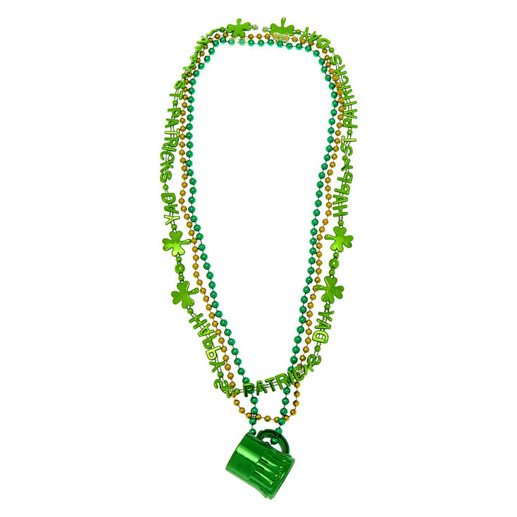 Mug Shot Glass Beaded Necklaces - Green, 3 Pack,