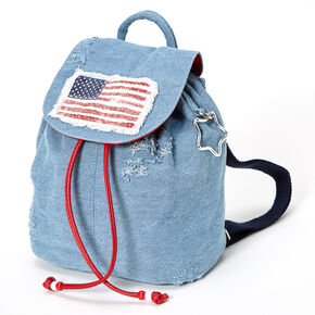 American Flag Denim Small Backpack - Blue,