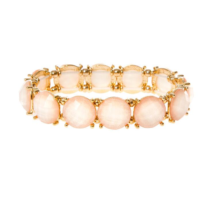Round Light Pink Glitter Stones Stretch Bracelet,