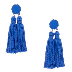 """3"""" Double Tassel Drop Earrings - Blue,"""