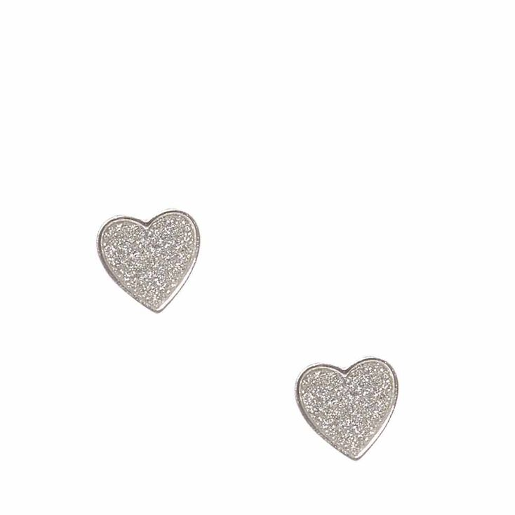 Silver Tone Glitter Heart Stud Earrings,