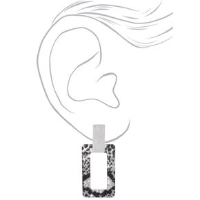 "Silver 2.5"" Snake Print Drop Earrings,"