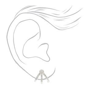 Silver Crystal Huggie Stud Earrings,