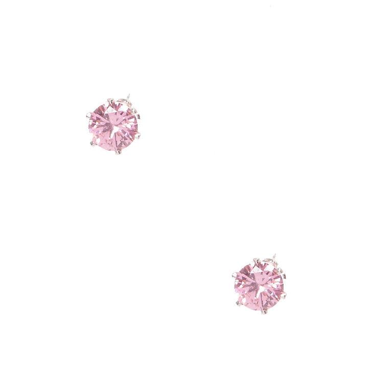 6MM Pink Cubic Zirconia Stud Earrings,