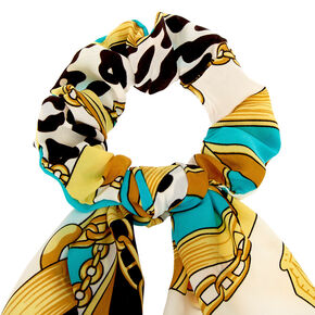Leopard Chain Scarf Hair Scrunchie - Mint,
