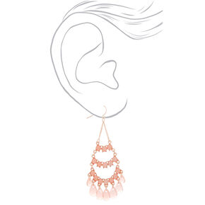 "3"" Sparkle Chandelier Drop Earrings - Peach,"