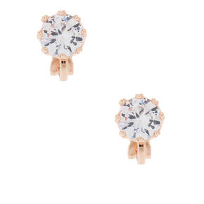 Rose Gold Cubic Zirconia 8MM Round Clip On Stud Earrings,
