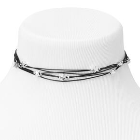 Multi Strand Star Bead Choker Necklace - Black,