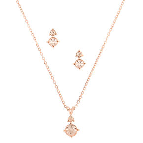 Rose Gold Rhinestone Classic Jewelry Set - 2 Pack,