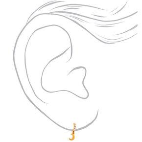 18kt Gold Plated Dangle Moon Hoop Earrings,