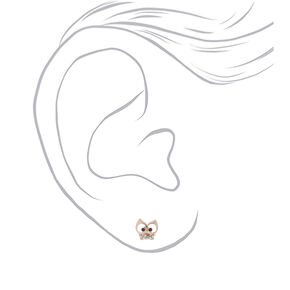 Rose Gold Owl Stud Earrings,