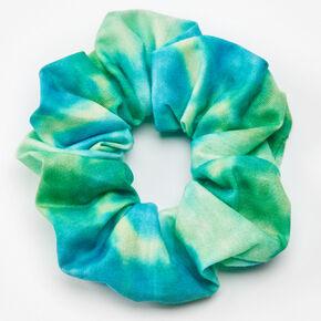 Medium Blue & Green Tie Dye Hair Scrunchie,