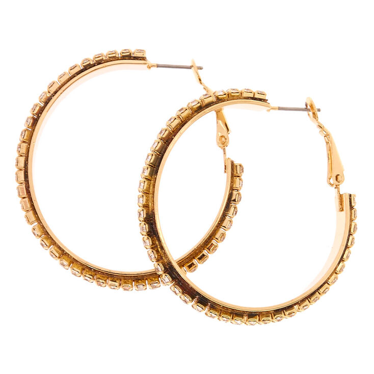 40MM Faux Crystal Lined Gold Tone Hoop Earrings,