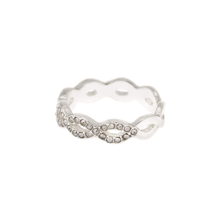 Silver Embellished Woven Ring,