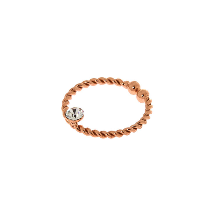 Rose Gold Sterling Silver Crystal Twist Faux Hoop Nose Ring,