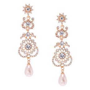 Rose Gold Crystal Filigree Drop Earrings