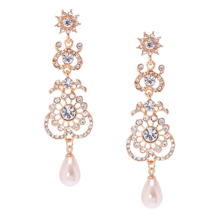 Rose Gold Crystal Filigree Drop Earrings,