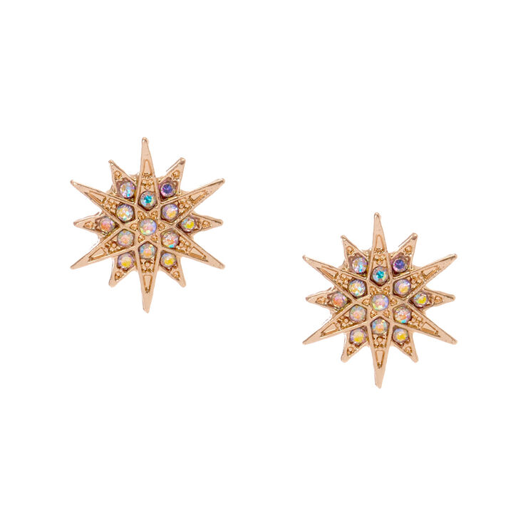 Rose Gold Tone Starburst Stud Earrings,
