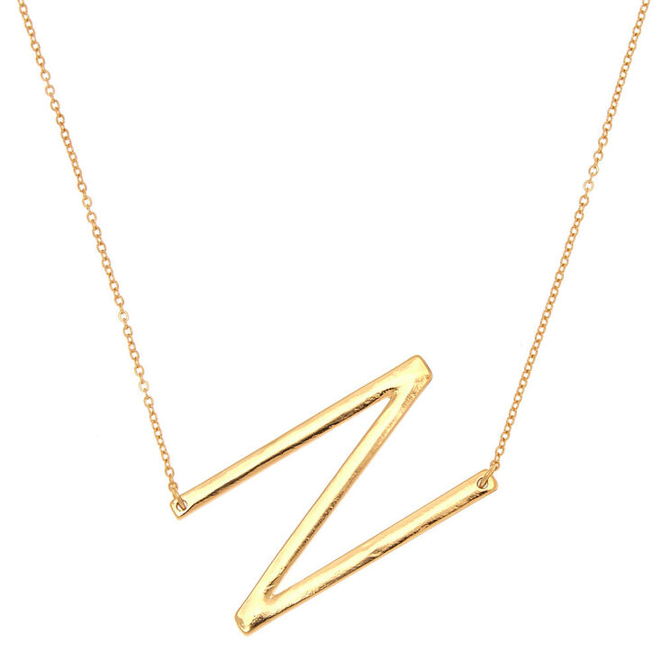 Oversized Initial Pendant Necklace - N,