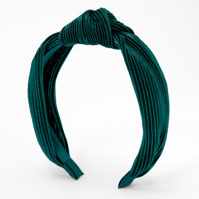 Ribbed Shimmer Twisted Headband - Emerald,