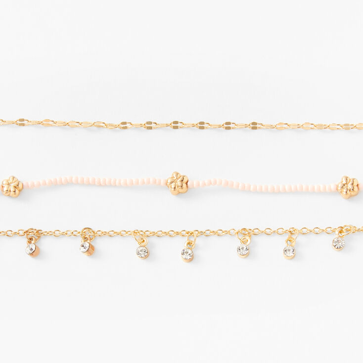 Gold Beaded Flower Choker Necklaces - Pink, 3 Pack,