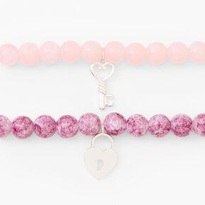 Silver Heart Lock & Key Beaded Stretch Bracelet - Blush Pink, 2 Pack,