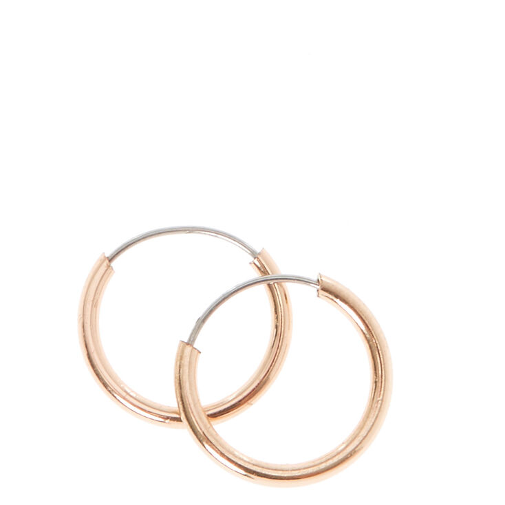 10MM Rose Gold Hoop Earrings,