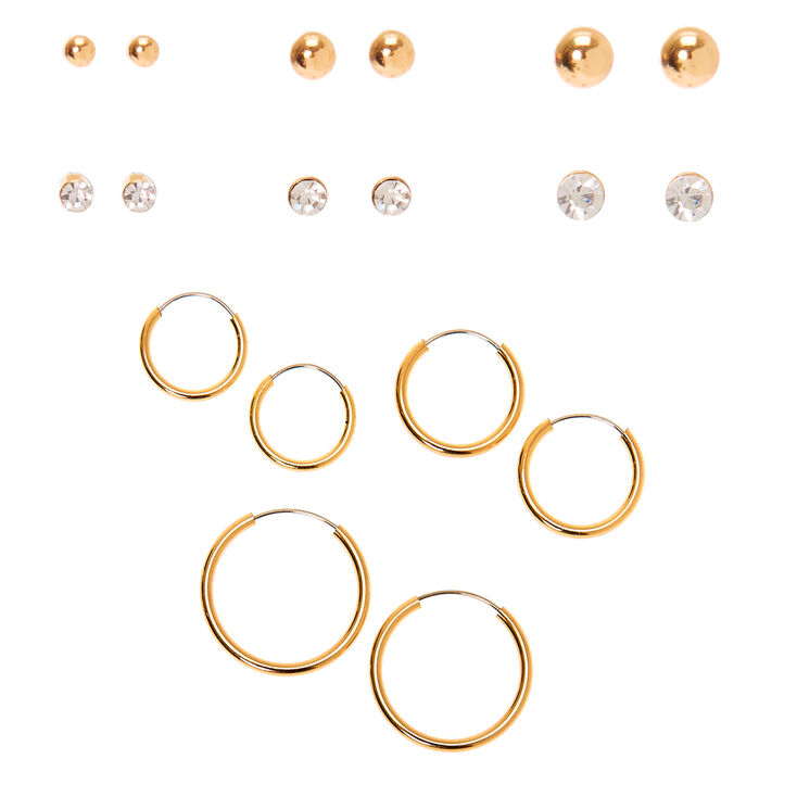 Small Crystal, Gold Ball Stud & Hoop Earrings Set of 9,