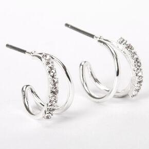 Silver 10MM Embellished Double Hoop Earrings,