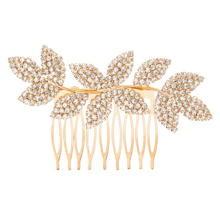 Gold Rhinestone Leaf Hair Comb,