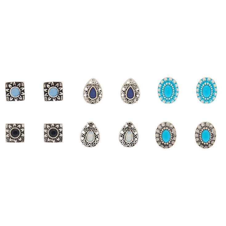 Geometric Stud Earrings - 6 Pack,